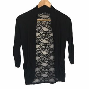 Bluenotes black open front lace cardigan S